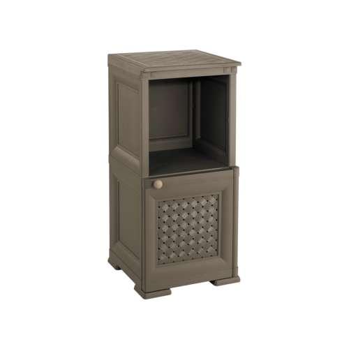 Single Door 2 Tier Open Shelf St. Cabinet with Wicker Door  sc 1 th 225 & Household : Single Door 2 Tier Open Shelf St. Cabinet with Wicker Door