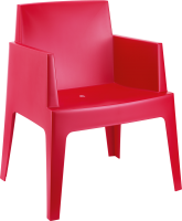 058-1 Box Arm Chair Red
