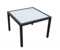 12005A-J Rattan Table with Glass 1mtr x 1 mtr