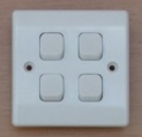 White 10A 4 Gang 2 Way Switch