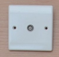 White 1G TV Socket Isolated