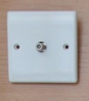 White 1 Gang Satellite Socket